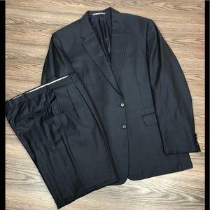 Hickey Freeman Navy Blue Nailhead Suit 48L Long